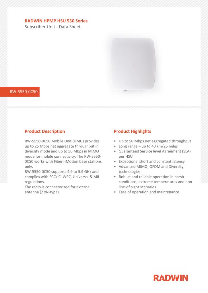 Radwin Hpmp Hsu 550 Series Product Description Product Highlights