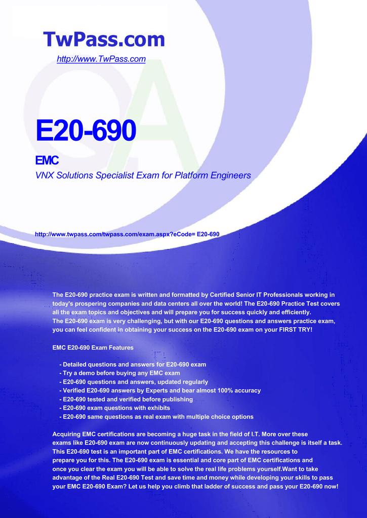 E20-690 EMC VNX Solutions Specialist Exam for Platform