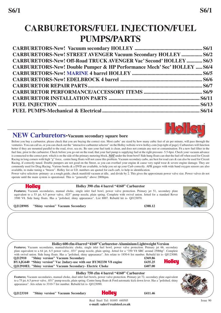 carburetors/fuel injection/fuel pumps/parts | manualzz com