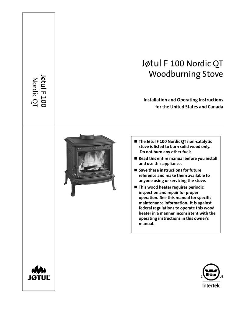 Jøtul F 100 Nordic QT Woodburning Stove | manualzz com