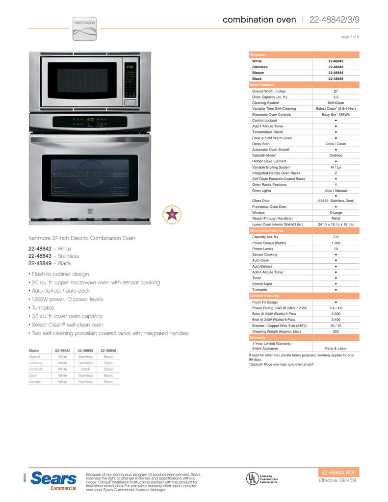 Combination Oven 22 48842 3 9 Manualzz