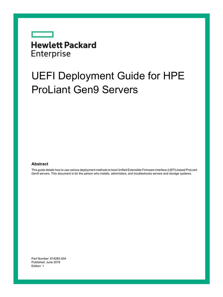 UEFI Deployment Guide for HPE ProLiant Gen9 Servers | manualzz com