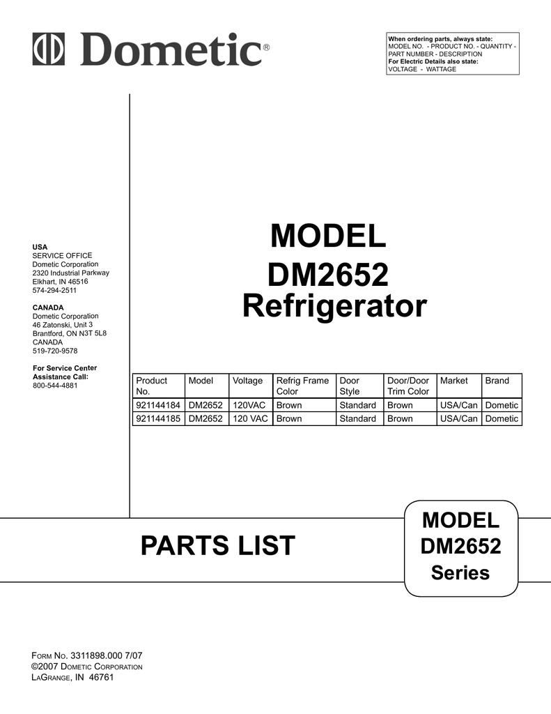 07-09-07, DM2652, 921144185, 921144184 Refrigerator Parts