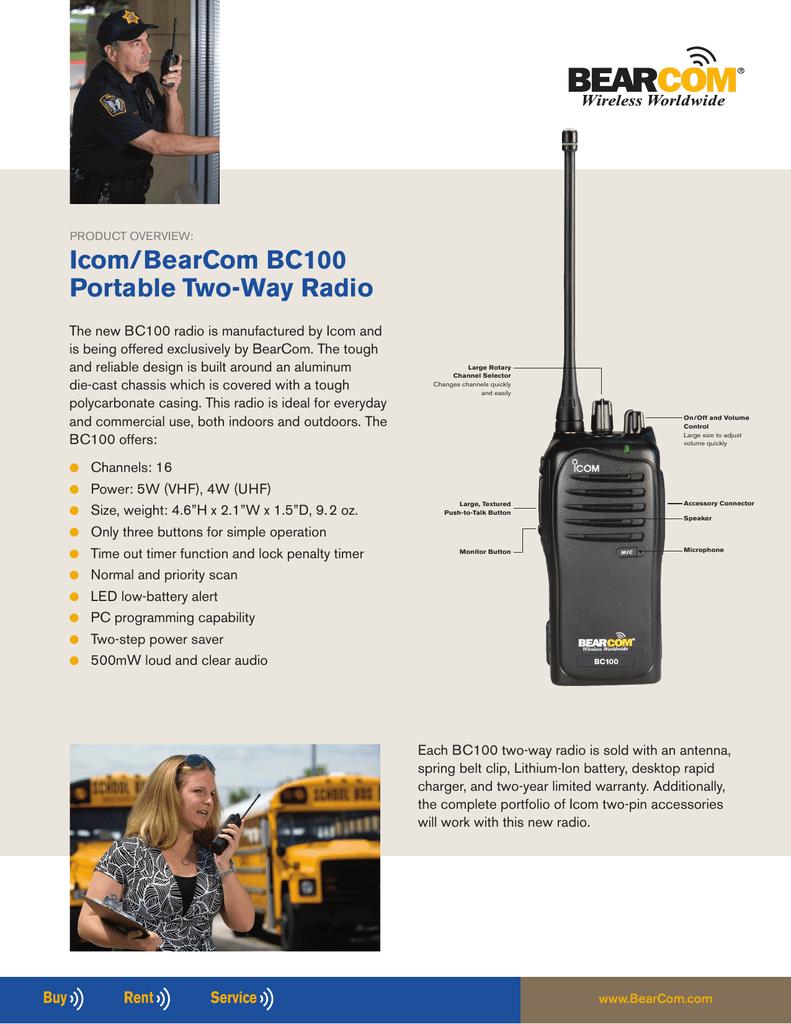 Icom/BearCom BC100 Portable Two | manualzz com