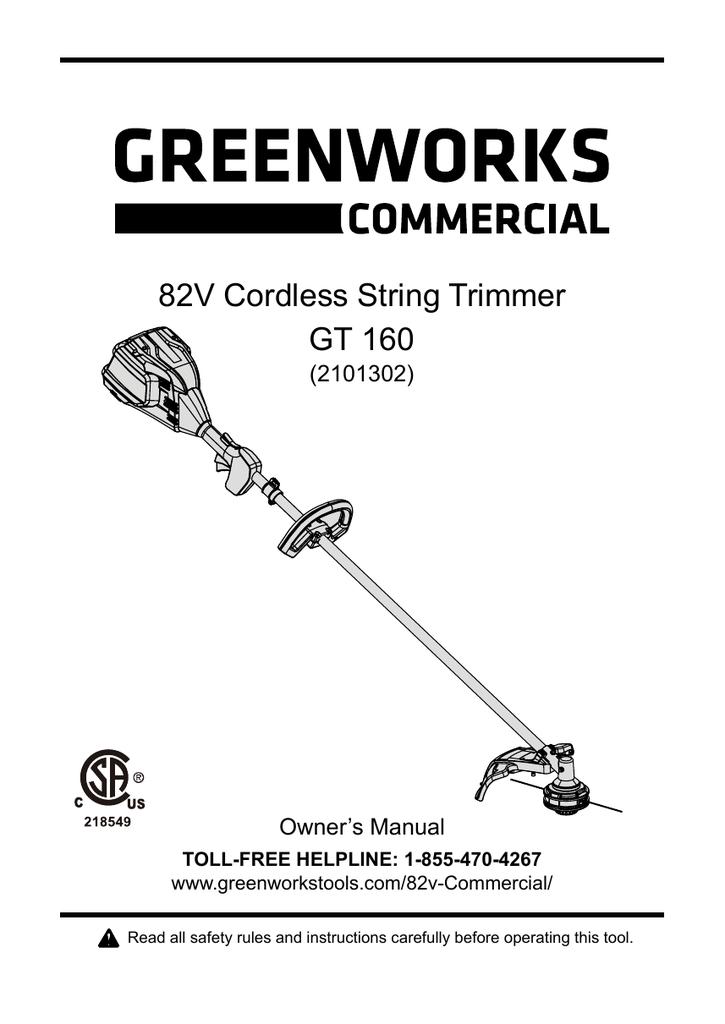 82V Cordless String Trimmer GT 160 | manualzz com