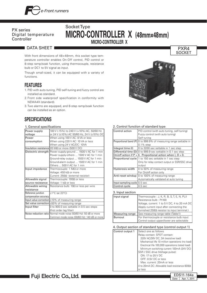 Fuji Electric Pxr4 Socket Type Temperature Controller Datasheet Manualzz