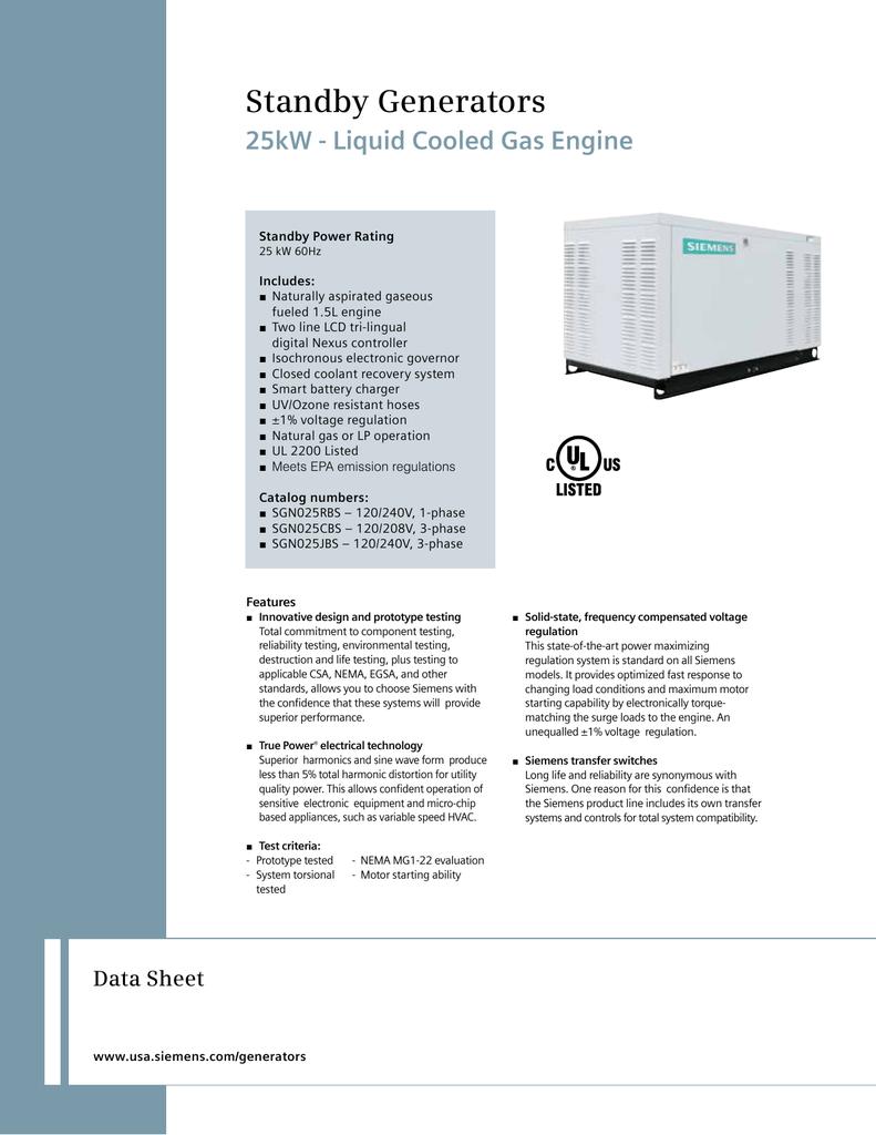 Standby Generators 25kW - Liquid Cooled Gas Engine Data