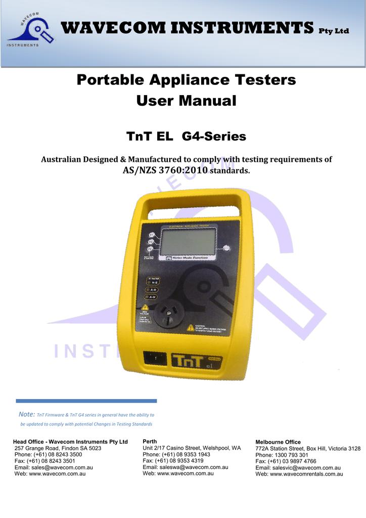 380eea9328 Wavecom Instruments Portable Appliance Testers Instruction Manual ...