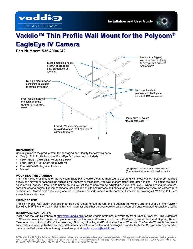 Vaddio™ Thin Profile Wall Mount for the Polycom® EagleEye IV