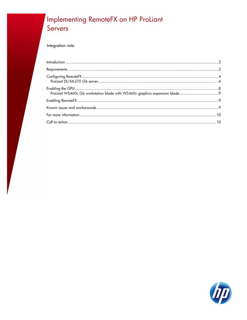 Implementing RemoteFX on HP ProLiant Servers   manualzz com