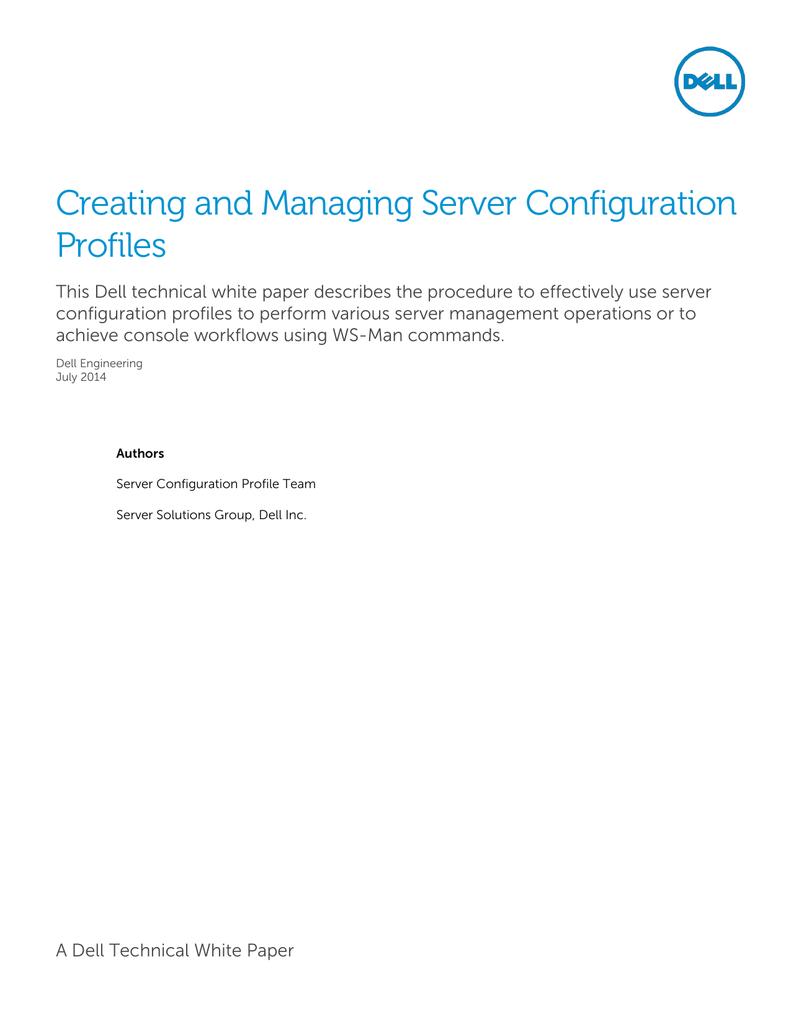 Creating and Managing Server Configuration | manualzz com