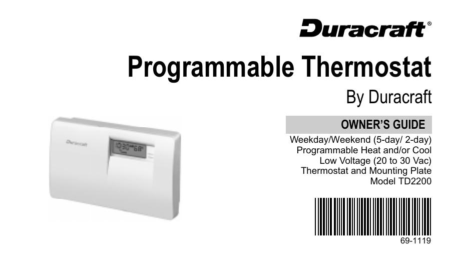 69 1119 programmable thermostat by duracraft manualzz com rh manualzz com Craftsman Snowblower Manual Craftsman Lawn Tractor Manual