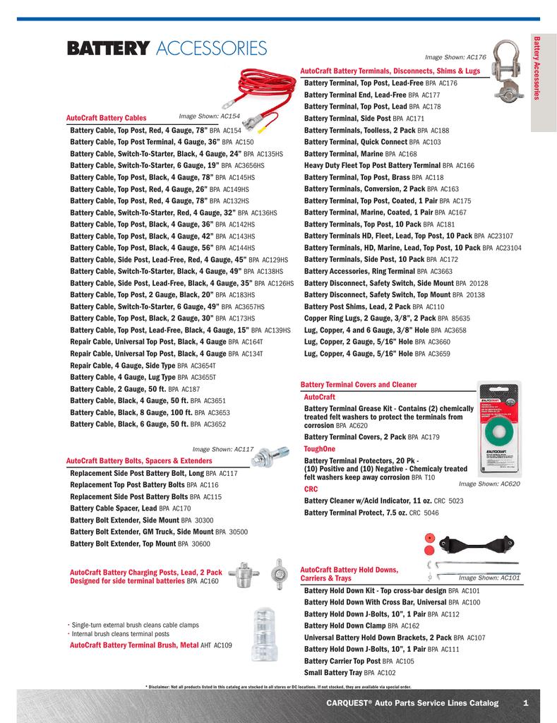 Battery Accessories Carquest Auto Parts Manualzz Com