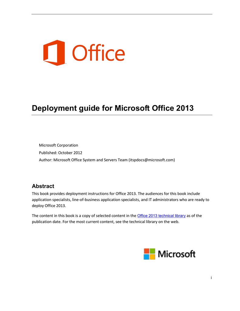 Deployment guide for Microsoft Office 2013 | manualzz com