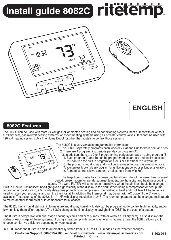 [QNCB_7524]  Install guide 8082C - RiteTemp Thermostats | Manualzz | Rite Temp Thermostat Wiring Diagram 7 Wire |  | manualzz