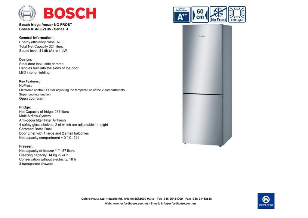 Bosch Fridge Freezer No Frost Bosch Kgn36vl35 Manualzz