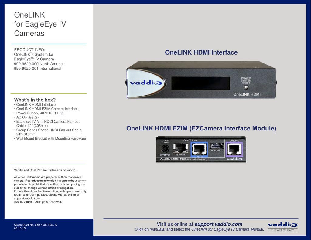 OneLINK for Polycom EagleEye IV Cameras Quick-Start | manualzz com