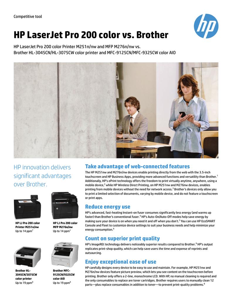 HP LaserJet Pro 200 color vs  Brother | manualzz com