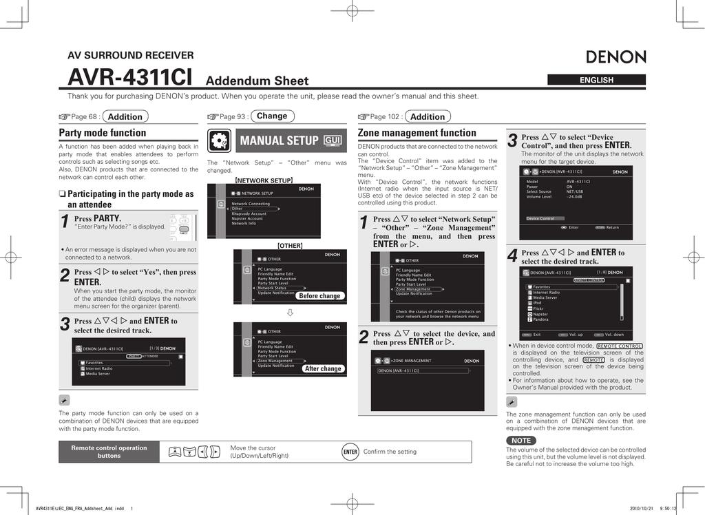 AVR-4311CI Addendum Sheet MANUAL SETUP | manualzz com