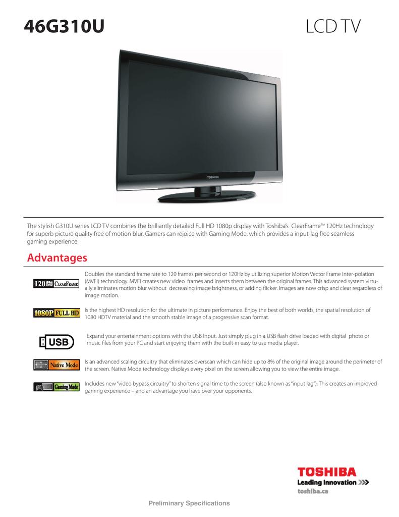 46G310U LCD TV - Toshiba Canada   manualzz com