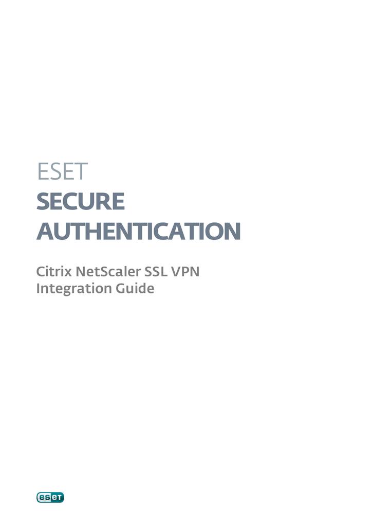 Eset Secure Authentication Citrix NetScaler SSL VPN Integration