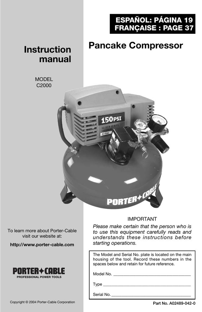 Pancake Compressor Instruction Manual Manualzz