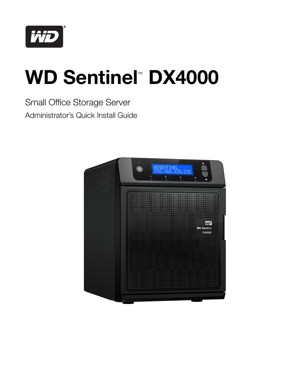 Wd Sentinel Dx4000 Small Office Storage Server Manualzz
