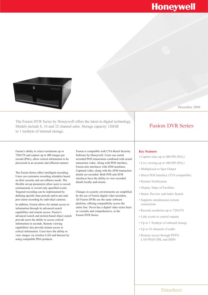 Fusion DVR Series - Honeywell Video Systems | manualzz com
