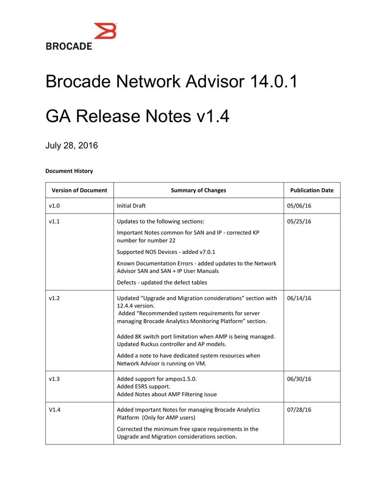 Brocade Network Advisor 14 0 1 GA Release Notes v1 4