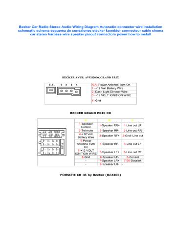 Becker Car Radio Wiring Diagram Srt, Stock Stereo Wiring Diagrams