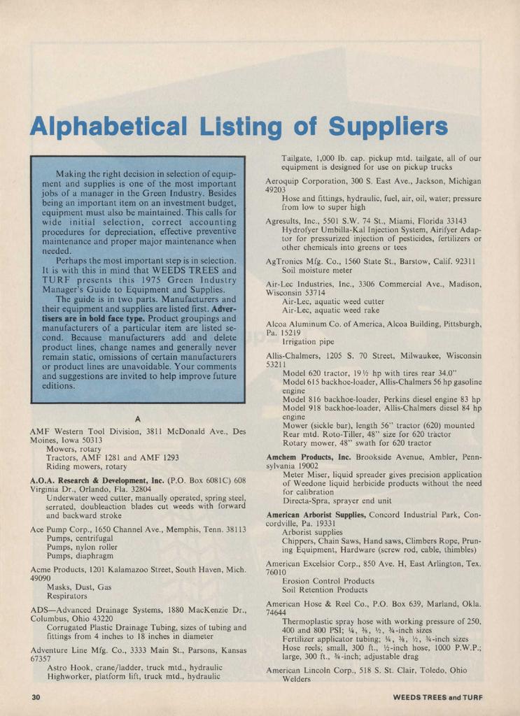 Alphabetical Listing of Suppliers | manualzz com