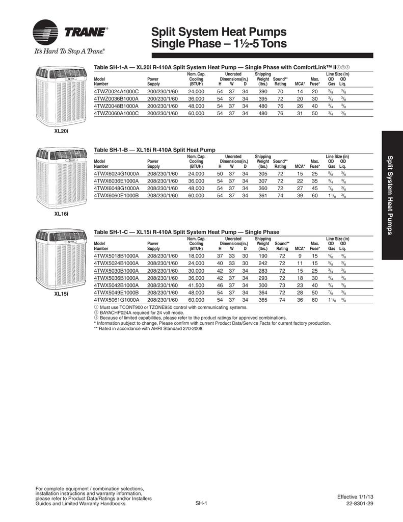 Trane January 2013 Product Handbook Split System Heat Pump