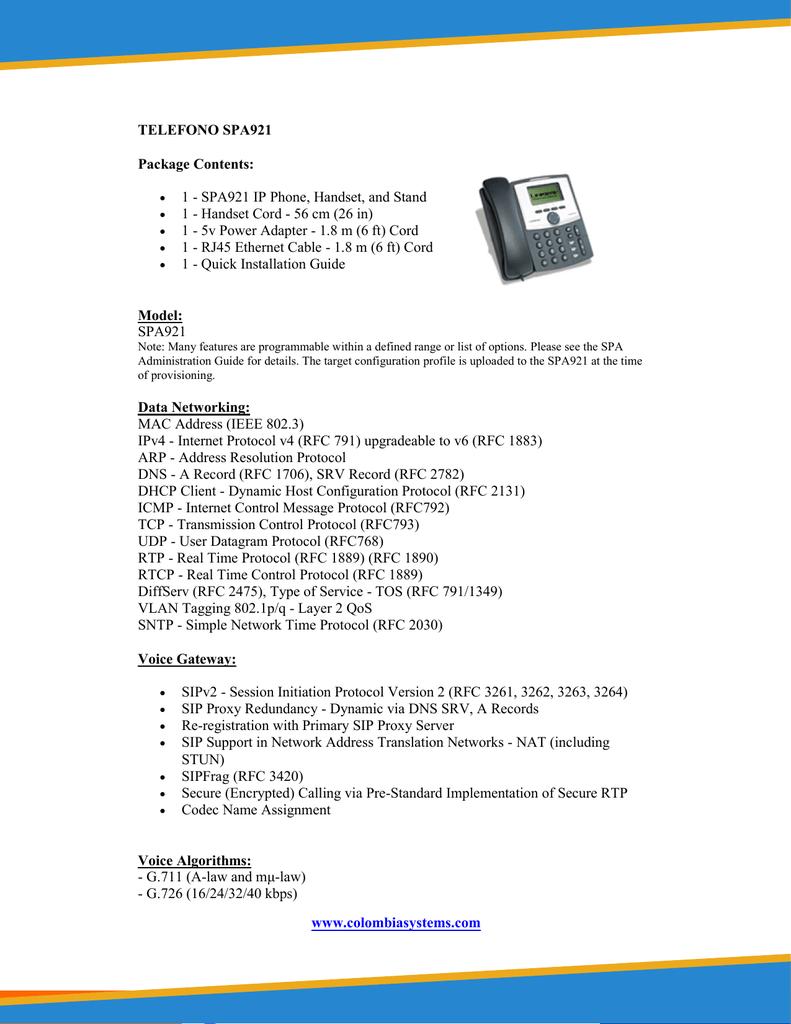 www colombiasystems com TELEFONO SPA921 Package Contents | manualzz com
