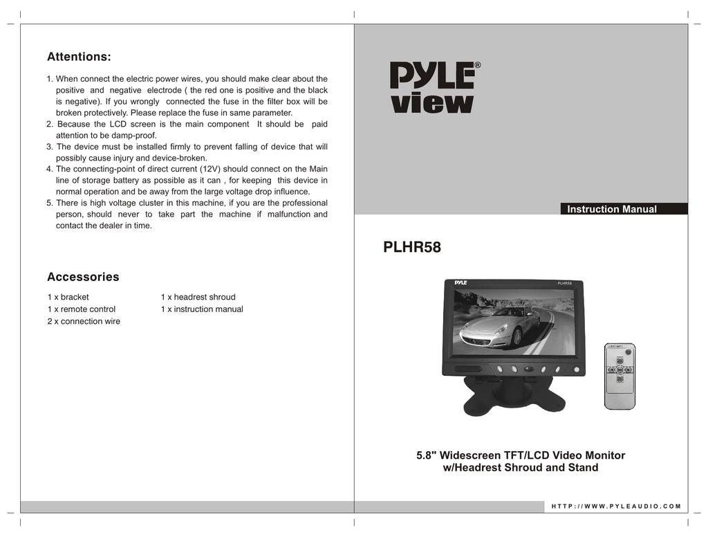 Pyle Plhr58 Backup Camera Wiring Diagram Trusted Reversing Monitor Tft Lcd Manual Cdr Manualzz Com