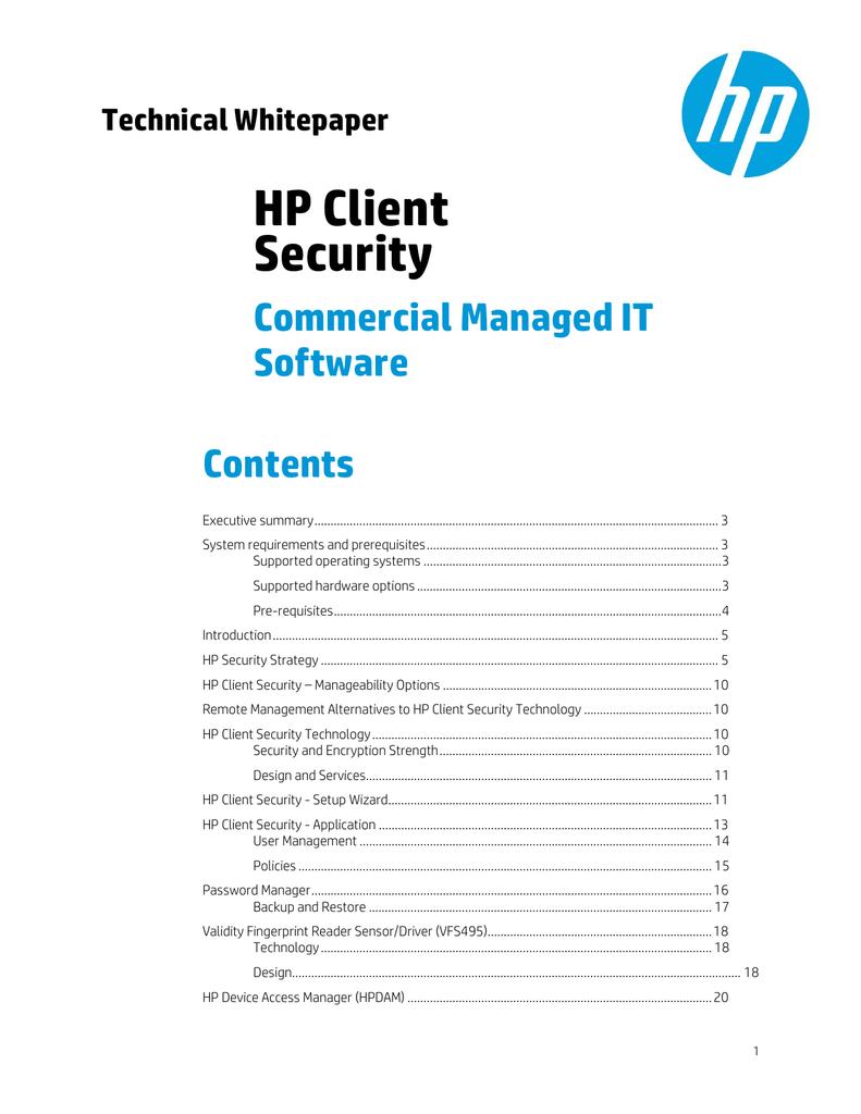hp client security manager fingerprint windows 7