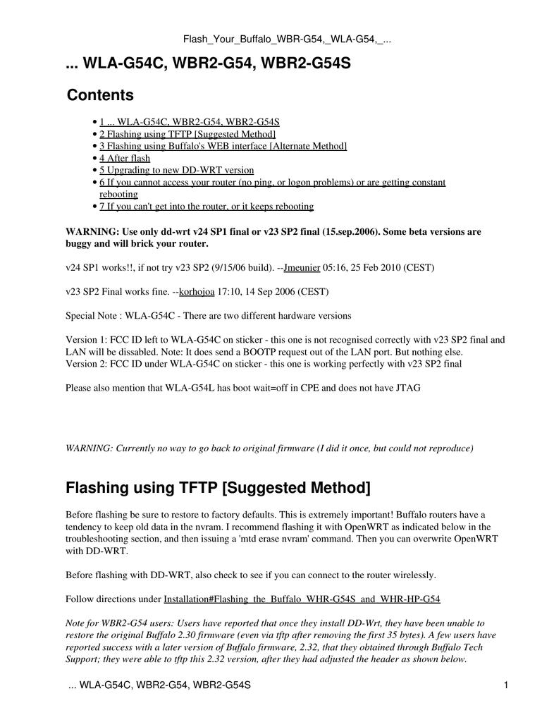 WLA-G54C, WBR2-G54, WBR2-G54S Contents Flashing using
