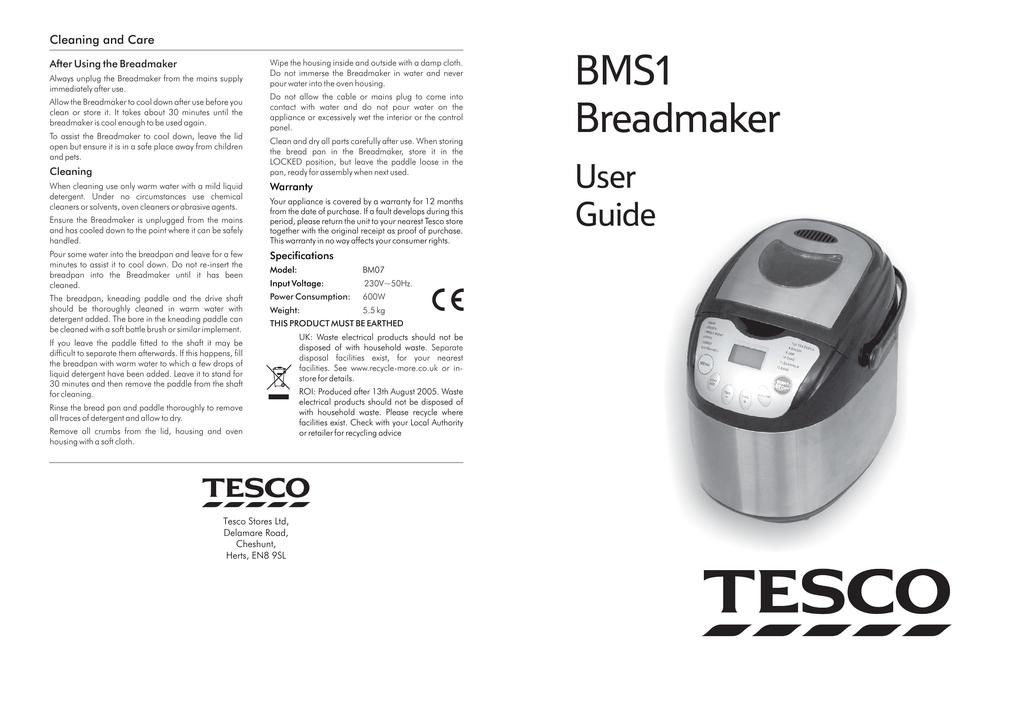 Tesco Bms1 Breadmaker Manual Manualzzcom