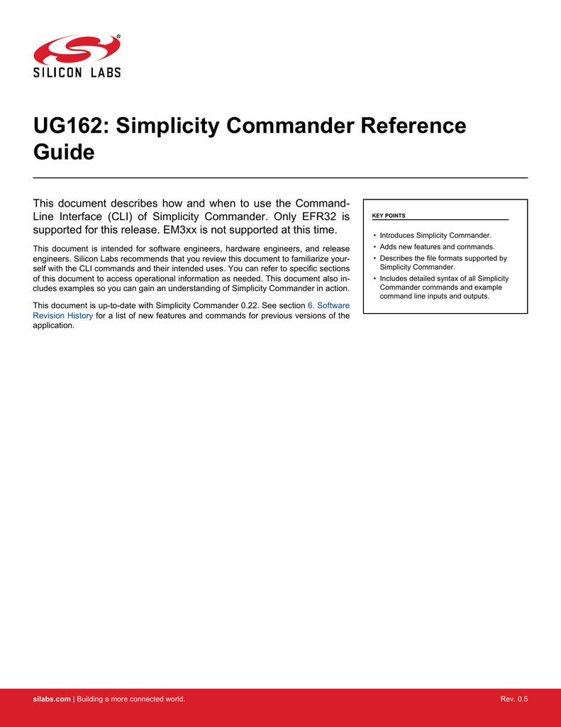 UG162: Simplicity Commander Reference Guide | manualzz com