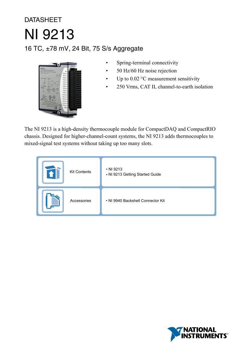 NI 9213 Datasheet - National Instruments | manualzz com