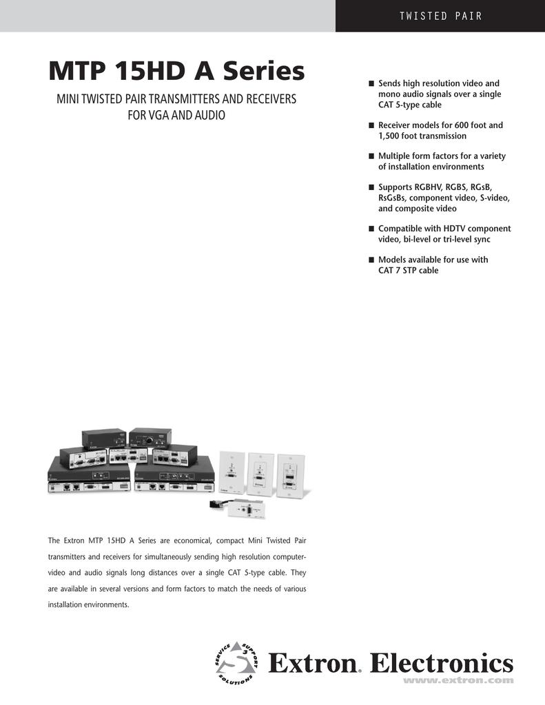VGA Extron 60-669-01 RGBHV Twisted Pair Transmitter Audio Model MTP RL 15HD