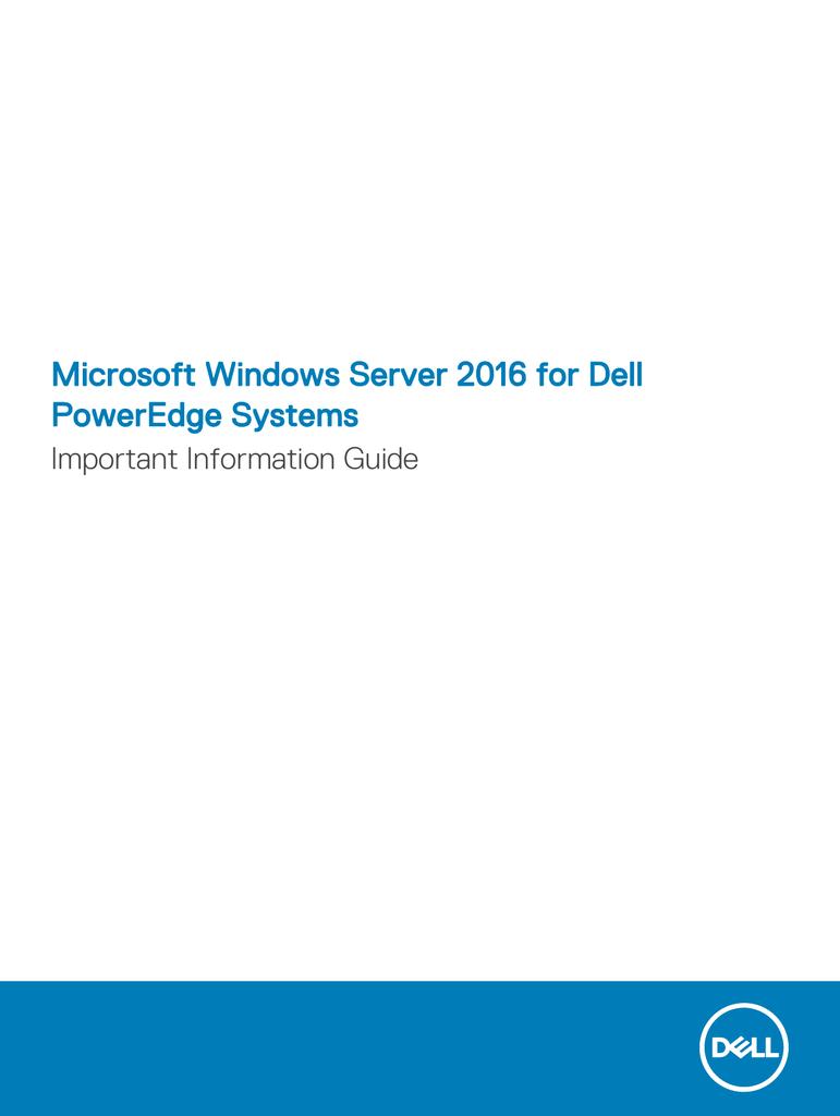 Microsoft Windows Server 2016 for Dell PowerEdge | manualzz com
