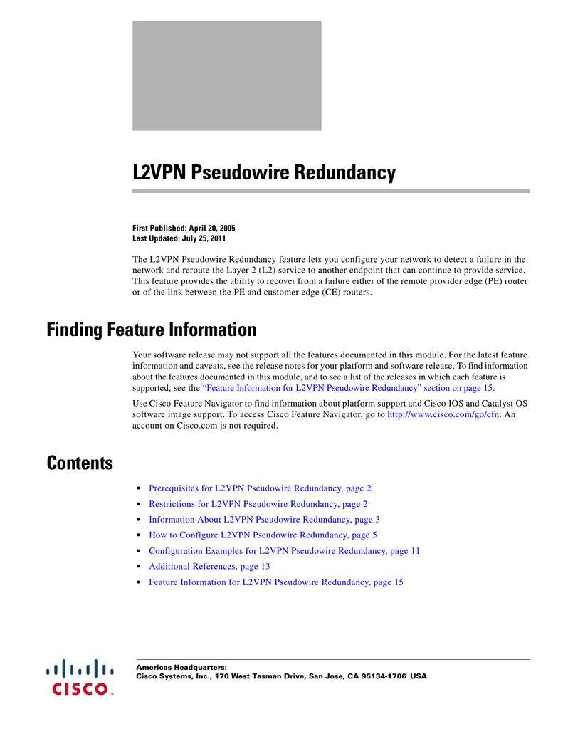 L2VPN Pseudowire Redundancy | manualzz com