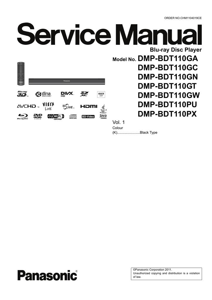 Panasonic DMP-BDT110GT Blu-ray Player Download Driver