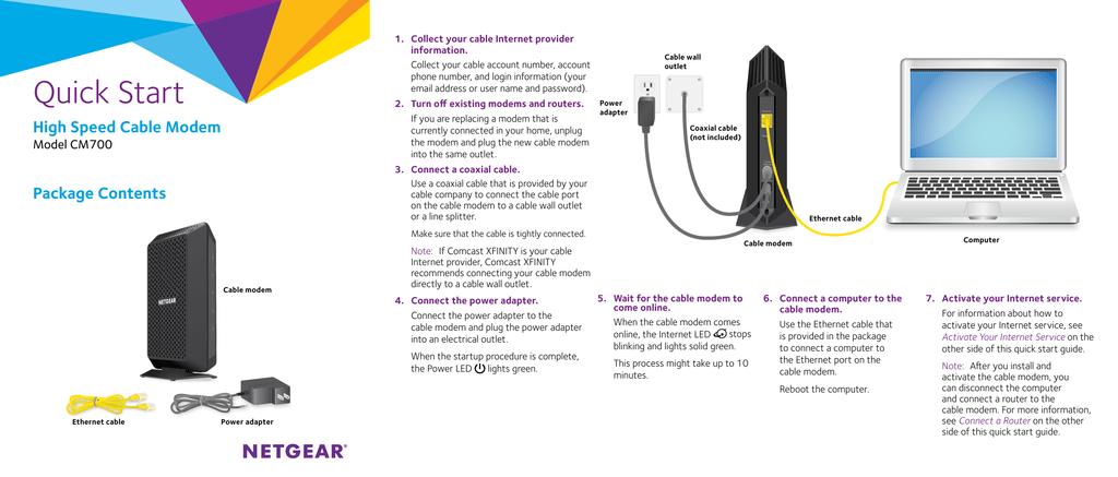 High Speed Cable Modem Model CM700 Quick Start Guide | manualzz com
