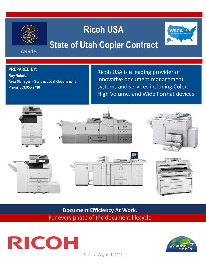 Ricoh USA State of Utah Copier Contract | manualzz com