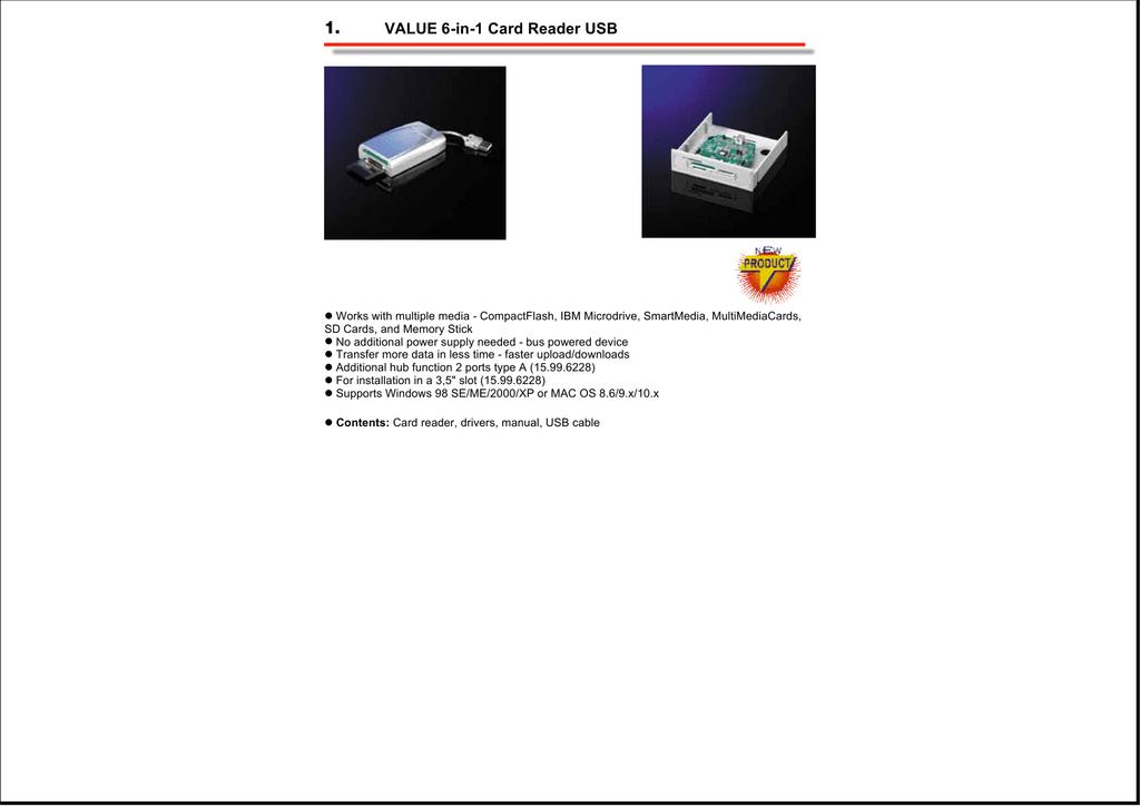 VALUE 6-in-1 Card Reader USB | manualzz com