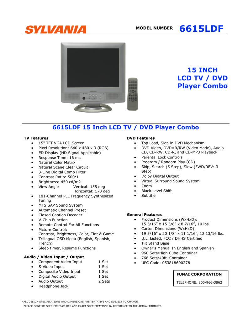 Sylvania 6615LDF 15 Inch LCD TV DVD Player Combo