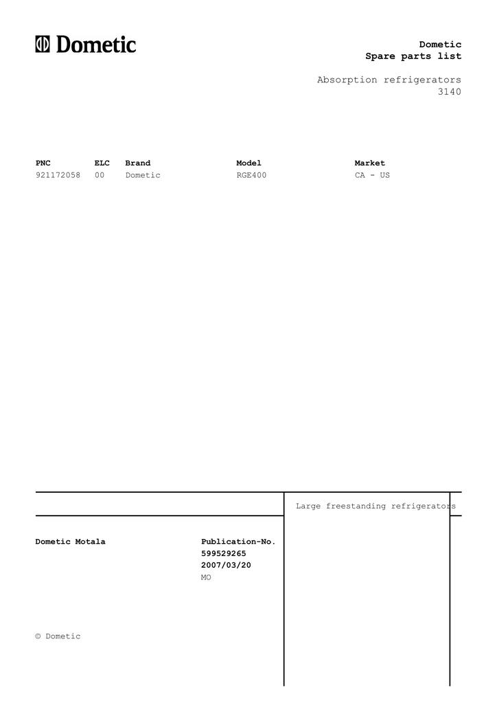 4-30-07, RGE400 921172058 Refrigerator Parts List | manualzz com