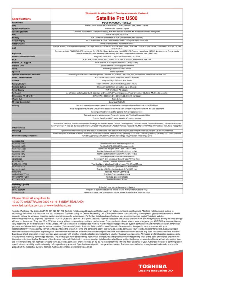 Oct 09 NPI Satellite Pro U500 PSU83A-00N00D Red IMR | manualzz com