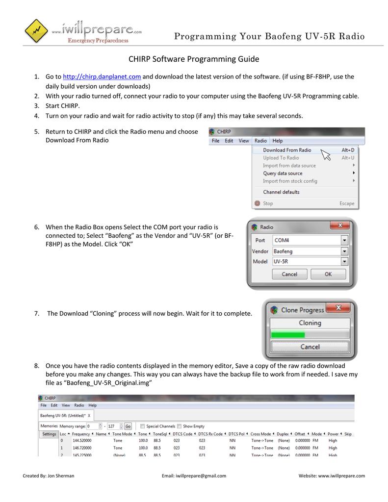 Programming Your Baofeng UV-5R Radio CHIRP | manualzz com